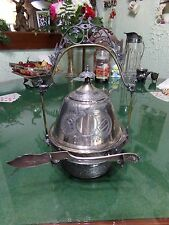 Highly Decorative Victorian Silver Plate Complete Covered Butter Dish With Knife