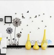 Black Dandelion Butterfly Wall Sticker Removable Decals Decor Kids Nursery Art