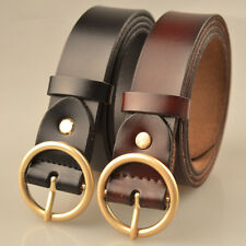 Black Vintage  PU Leather Round Ring Buckle Waist Belts Pop Women's Men'sBelt