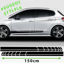 Side Racing Stripes Stickers Decal For Peugeot 208,207,308 Tuning Size 150X10 Cm