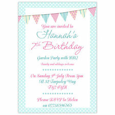 Personalised Girl Birthday Party Invitations or Thank You Cards Pastel Bunting