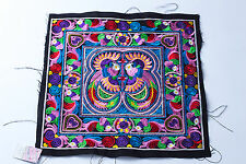 Multi Bird Hmong Embroidered Fabric Hill Tribe Ethnic Fashion Style Thailand