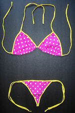 Polka Dot Spotted G-STRING BIKINI Pink Swimming Costume Thong Beachwear Swimwear
