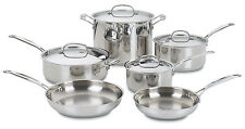 New 10 Piece Chefs Classic Stainless Steel Cuisinart Pots and Pans Cookware Set