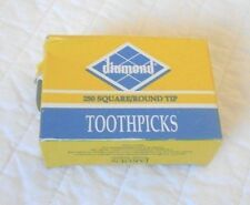 2 Box Diamond Square/Round Tip Wooden Toothpicks 250 New Sealed Birch Wood