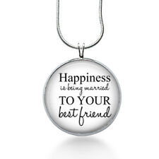 Happiness Is Necklace, Quote Pendant, married, gifts for women,jewelry, necklace