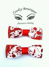 Zombie blood spot walking dead horror hair bow clip/slide x2. Goth. Halloween.