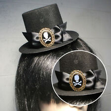 Black Gothic Victorian Steampunk Mini Top Hat Skull Crossbones Halloween Costume