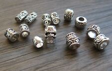 12 super skinny silver tone dread braid beard beads 3.2 to 4.8mm + mini skull