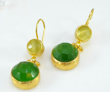 OttomanGems semi precious gemstone earrings 21ct gold plated Cat Eye handmade