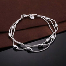 Fashion 925 Silver Plated Three-wire Bead Ball Chain Bracelet Jewelry Hot New
