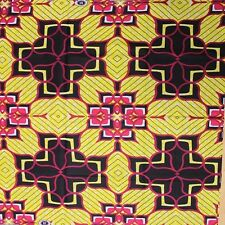 African Cotton Print Fabric Bright Bold & Permanent Colors Sold Per Yard