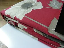 100% Cotton Ring Top Eyelet Poppy Red Curtains 168x229cm, 66x90""