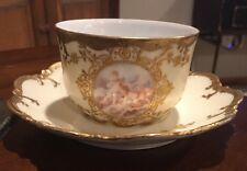 Vtg AK CD Limoges France Gold Trim Tea Cup and Saucer with 2 Cherubs.  ID# 17-59