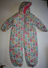 New NEXT UK Winter Snowsuit Gray with Animal Print Fox Cat Owl 4 5 Year 110 CM