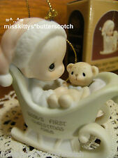 Precious Moments~ORNAMENT~115282~Babys First Christmas~1988~Boy in SLED w Bear
