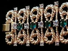 JBK Art Deco Bracelet gold-toned with simulated diamonds and simulated emeralds