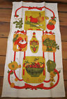 Vintage 50s Fallani & Cohn MID CENTURY 100% Linen Kitchen Tea Dish Towel Veggies