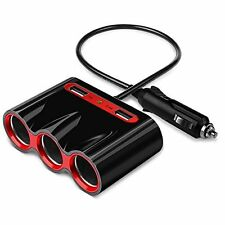 Cigarette Lighter Adapter,120W 3-Socket Car Splitter Charger with 3.4A Dual USB