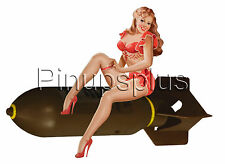 Sexy High Heels Pinup Girl riding bomb Bomber Nose Art Waterslide Decals S988