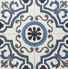 8X8 Lyon Blue Matte Encaustic Cement Tile Floor and Wall Pattern (Sold by Piece)