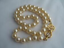 "Gorgeous KENNETH JAY LANE Gold Faux Pearl Necklace~18""~MIB~Signature Clasp~RARE"