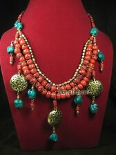 N3828 FASHION Tribal glass bead Ethnic strand BOLD Runway NECKLACE TIBET Jewelry
