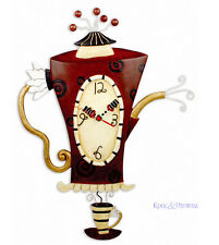 """Dramatic Large """"Steamin' Tea"""" Teapot Cafe Wall Clock by Allen Designs"""