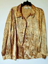 KATHIE LEE WOMAN BUTTON-DOWN SHIRT BLOUSE BEIGE GOLDEN PLUS SIZE 22W/24W GC LS