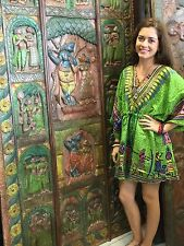 BOHEMIAN SHORT CAFTAN BOHO DASHIKI GREEN V NECK BEACH COVER UP DRESS PLUS SIZE