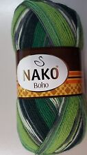 Nako Boho Sock Yarn #81261 Green Lime & White Mix 100g