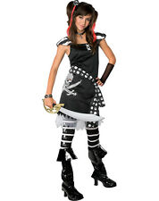 JRS Tween Girls PIRATE Costume Black White Dress Gloves Boots Small 0 2 Pre Teen