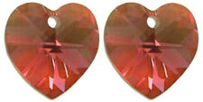 2 SWAROVSKI CRYSTAL GLASS XILION HEART PENDANTS 6228, MAGMA RED, 10 MM