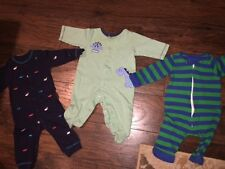 6 9 m Carter's Little Tots LOT of 3 outfits sleepers pajamas EUC blue green whal
