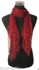 "New Beautiful 100% Silk Red Rose Flower Pattern Oblong Scarf 56""x20"""