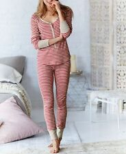 VICTORIA'S SECRET THERMAL FIRESIDE LONG JANE PJ SET SZ XL RED STRIPES NWT