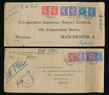 GB USED in EGYPT WW2 MULTI FRANKINGS 10d + 1s 8 1/2d...CO OP ENVELOPES AIRMAIL