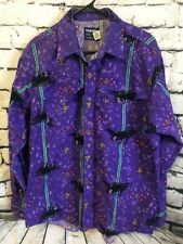 Men's Wrangler Western Cowboy Cut Aztec Purple Shirt Size 171/2- 36 Long VTG