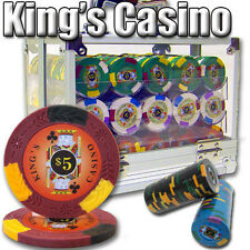 NEW 600 PC King's Casino 14 Gram Pro Clay Poker Chips Set Acrylic Case Custom
