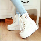 Punk Goth Ankle Boots Women's High Platform Wedge Heels Lace Up Shoes Puls Size