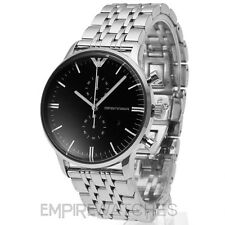 *NEW* MENS EMPORIO ARMANI GIANNI BLACK STEEL WATCH - AR0389 - RRP £379.00