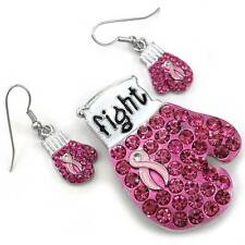 Pink Ribbon Breast Cancer Awareness Boxing Gloves Brooch Pin Dangle Earrings Set