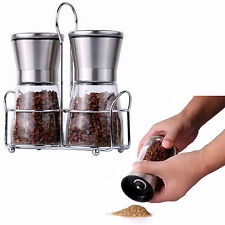 SOULCOOK Manual Glass and Stainless Steel Salt & Pepper Mill Set Pack of 2