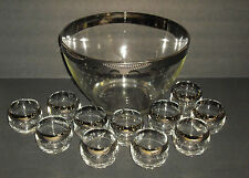 Mid Century Dorothy Thorpe Era Silver Rim Punch Bowl Ladle 11 Roly Poly Glasses