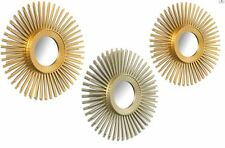 SET OF 3 METALLIC GOLD SUNBURST WALL MOUNTED MIRRORS  BEDROOM /LIVING ROOM BOX
