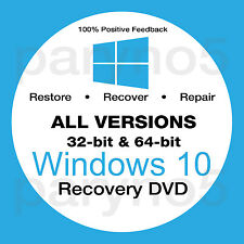 WINDOWS 10 ALL VERSIONS 32 64 Recovery Install Reinstall Restore DVD Disc Disk