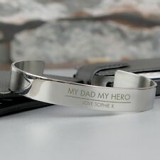 Mens PERSONALISED Engraved Stainless Steel Bangle - Fathers Day, Birthday