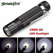 Waterproof 7W CREE Q5 LED 1200lm Mini Flashlight Torch Light 14500/AA Lamp BLACK