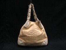 Authentic CHANEL Beige White Gold Hardware Canvas Leather Tote Bag
