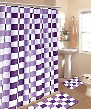 15PC PURPLE WHITE CHECKERS  BATHROOM BATH MATS SET RUG CARPET SHOWER CURTAIN #2
